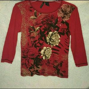 New Directions long sleeve red floral shirt SizePM